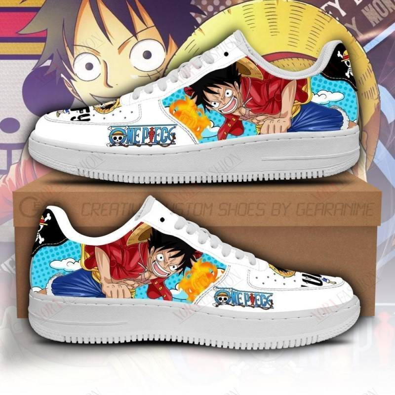 Monkey D Luffy Air Sneakers Custom One Piece Anime Shoes Fan PT04