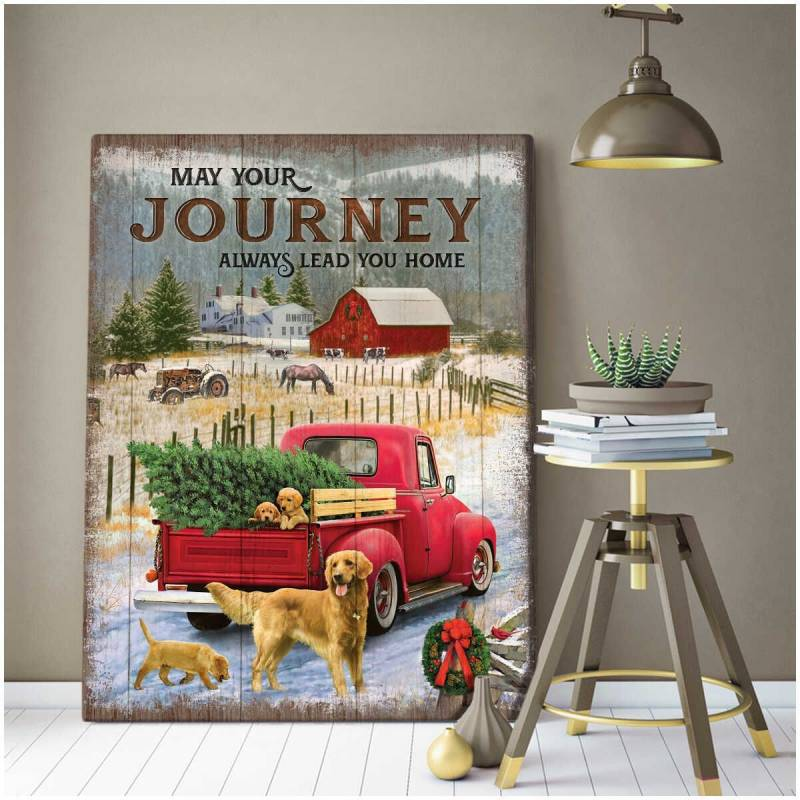 May Your Journey Always Lead You Home Golden Retriever Poster Canvas 5632203079