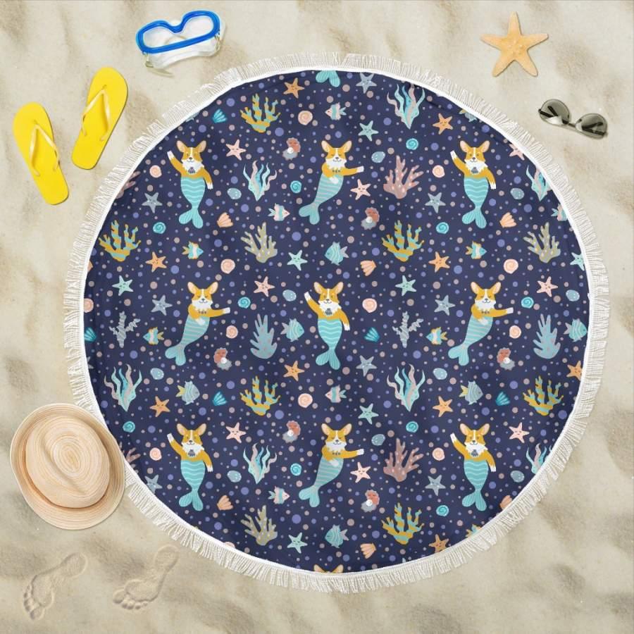 Corgi Mermaid Beach Blanket
