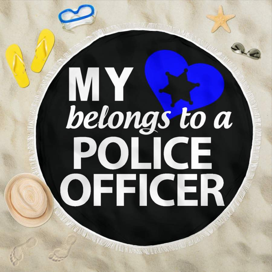 My Heart Belongs to a Police Officer Beach Blanket