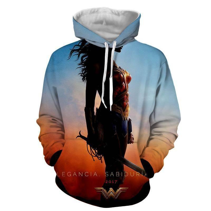 3D Printed Silhouette Print Wonder Woman Hoodie