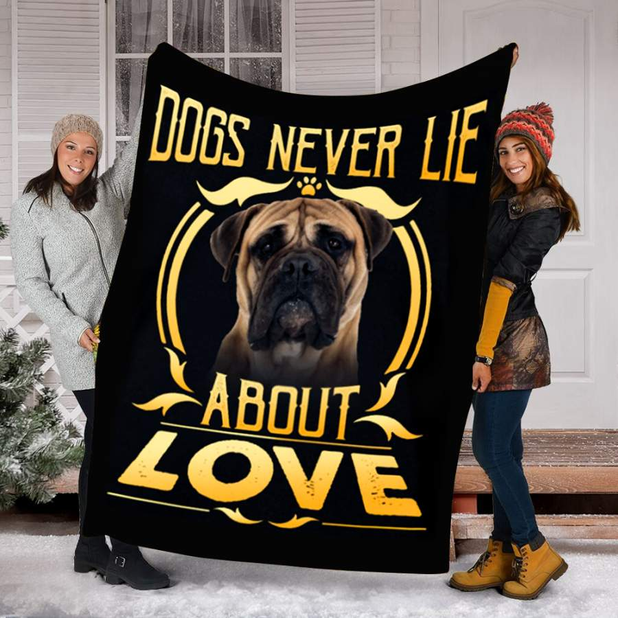 Customs Blanket Bullmastiff Never Lie Dog Blanket - Fleece Blanket