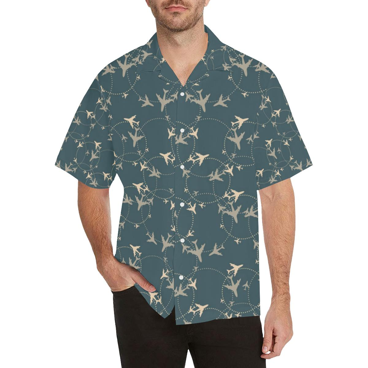 Airplane Circle Pattern Men's All Over Print Hawaiian Shirt