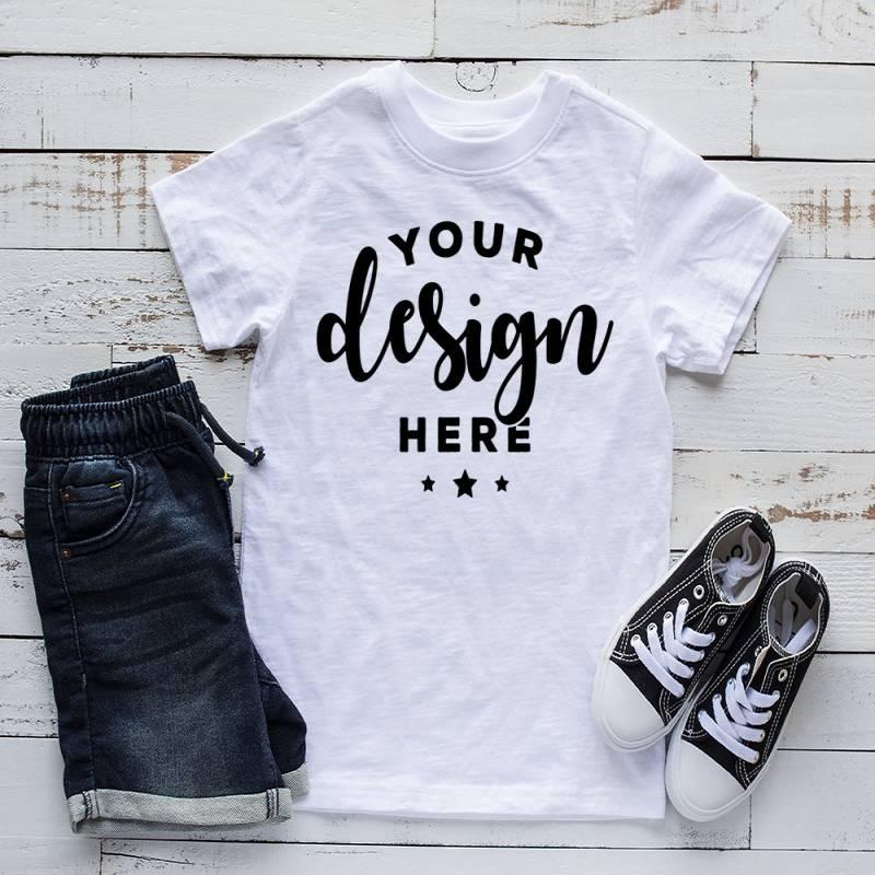Kids Shirt Mockup White T-shirt Mock Shorts And Shoes Summer Listing Template Mock-up On Wood Background Digital Download Hi Res Jpg