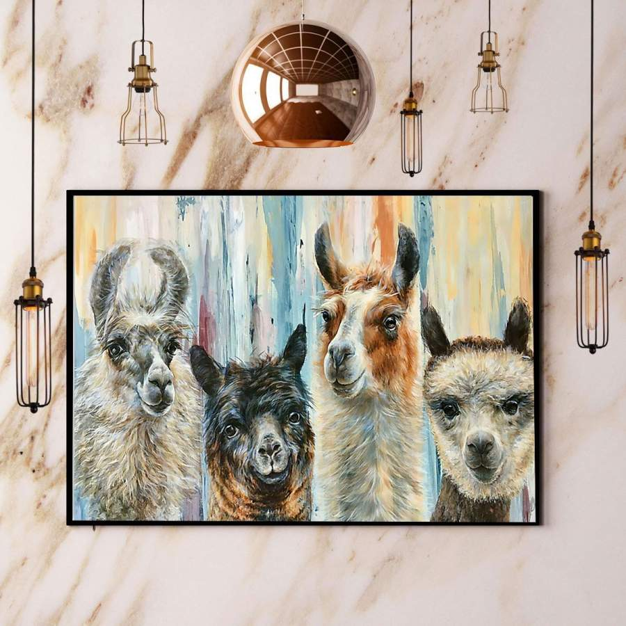 4 Different Alpaca Hair Paper Poster No Frame/ Wrapped Canvas Wall Decor Full Size