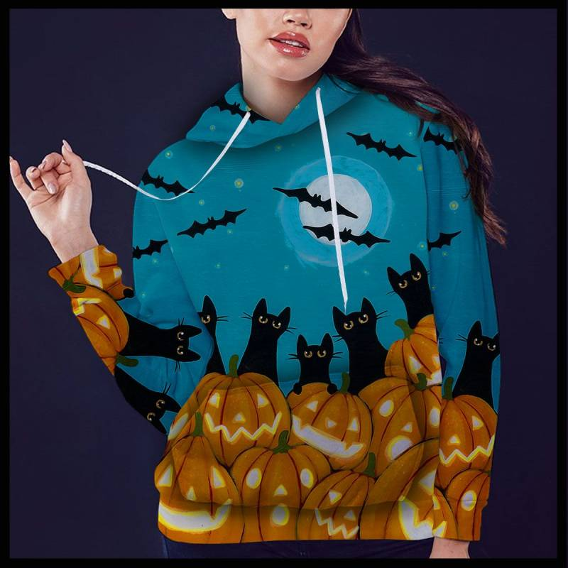 Black Cat Pumpkin T1509 - All Over Print Unisex Hoodie