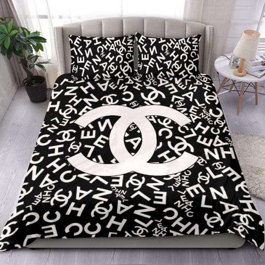 Chanel Pattern Black White Duvet Cover Bedding Set #1709HL