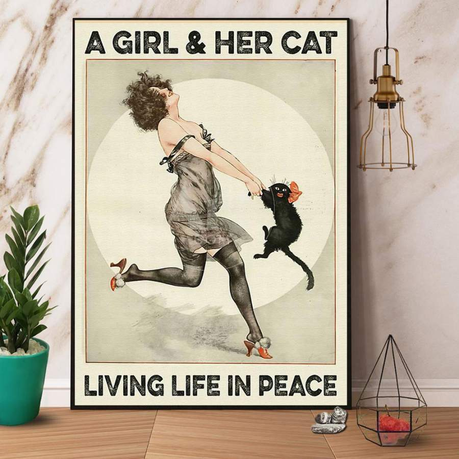 A Girl & Her Cat Living Life In Peace Paper Poster No Frame/ Wrapped Canvas Wall Decor Full Size