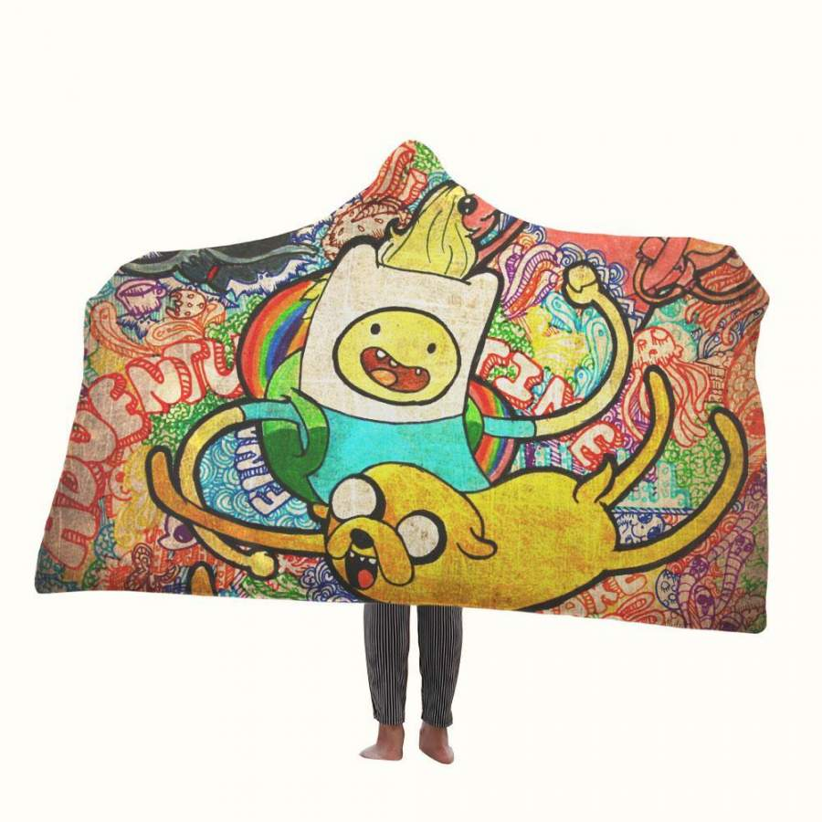 Adventure Time Jake and Finn Hooded Blanket