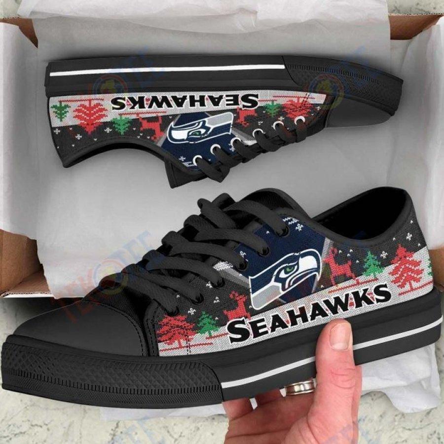 Mens Womens Christmas Seattle Seahawks Nfl Low Top Shoes Custom Print Footwear Convers Sneakers TMT170