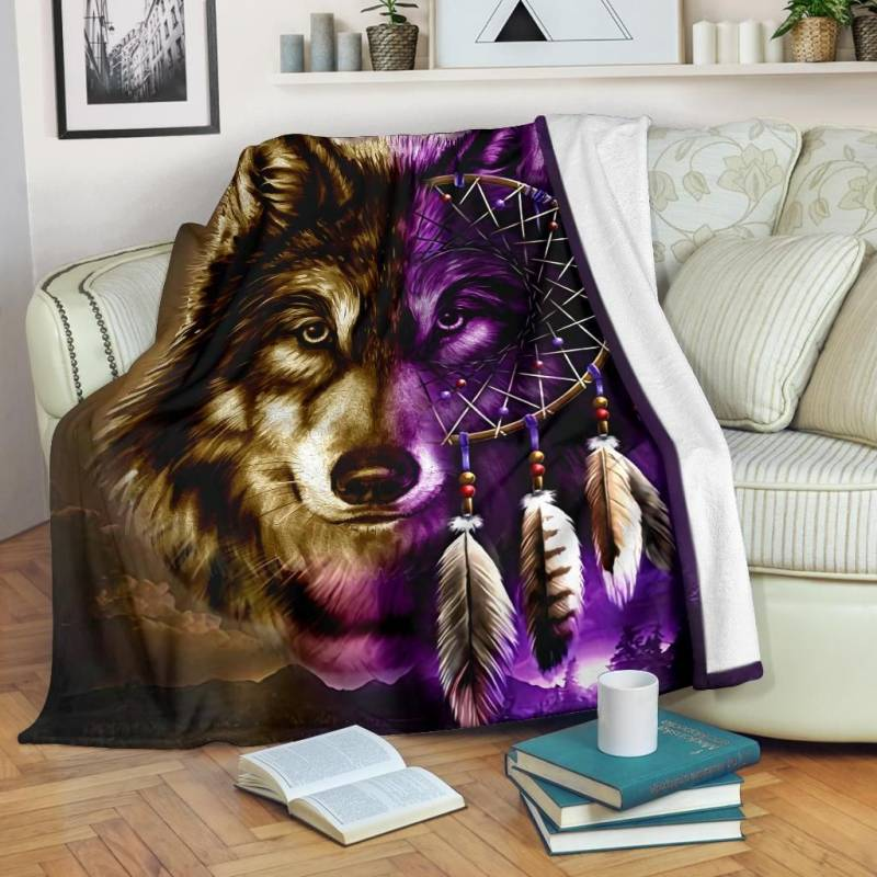 Native American Blanket - Dreamcatcher Purple Wolf - BN01