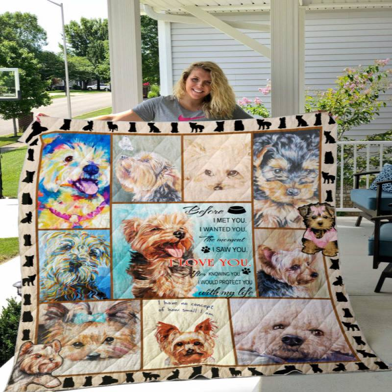 The Moment I Saw You, I Love You Yorkie Quilt P257