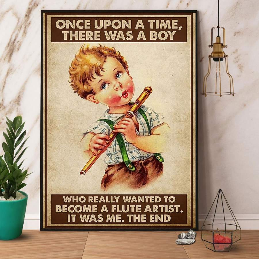 A Boy Who Really Wanted To Become A Flute Artist Paper Poster No Frame/ Wrapped Canvas Wall Decor Full Size