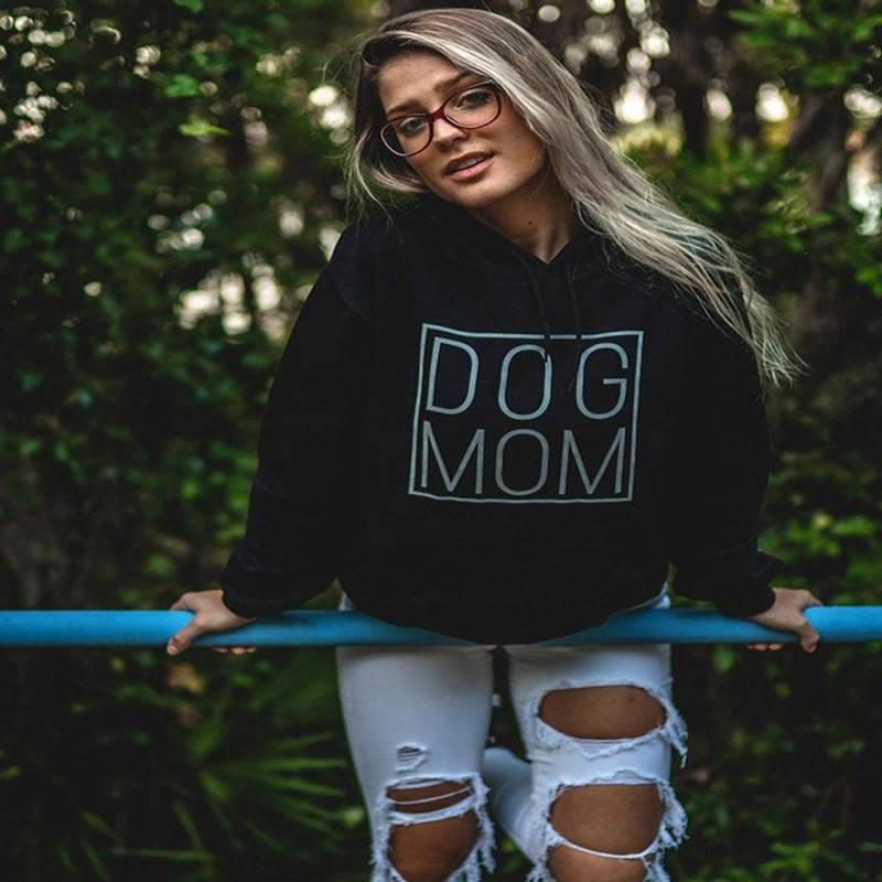 Black Simple Dog Mom Hoodie