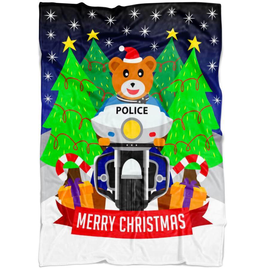 Police Bike Christmas Blanket