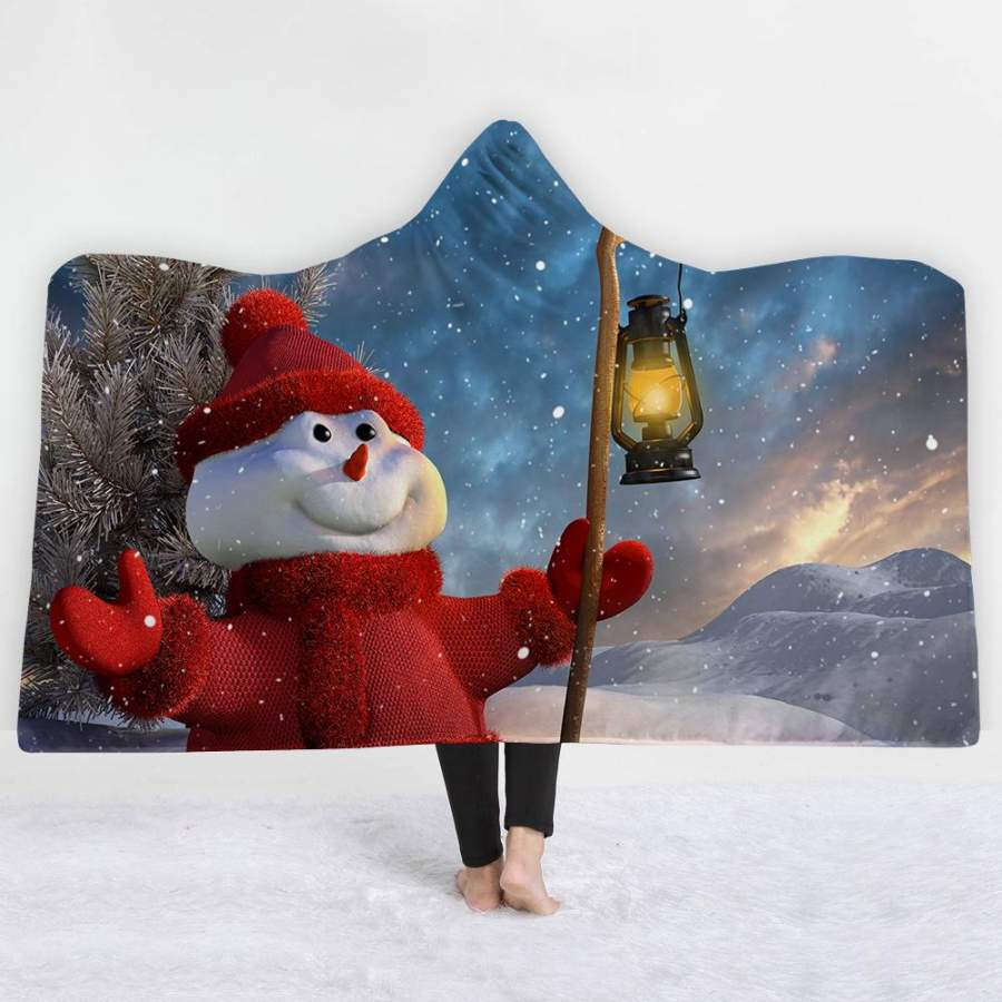 2019 Christmas Hooded Blanket Soft Plush Sherpa Blanket with Snowman Pattern For Kids and Adult