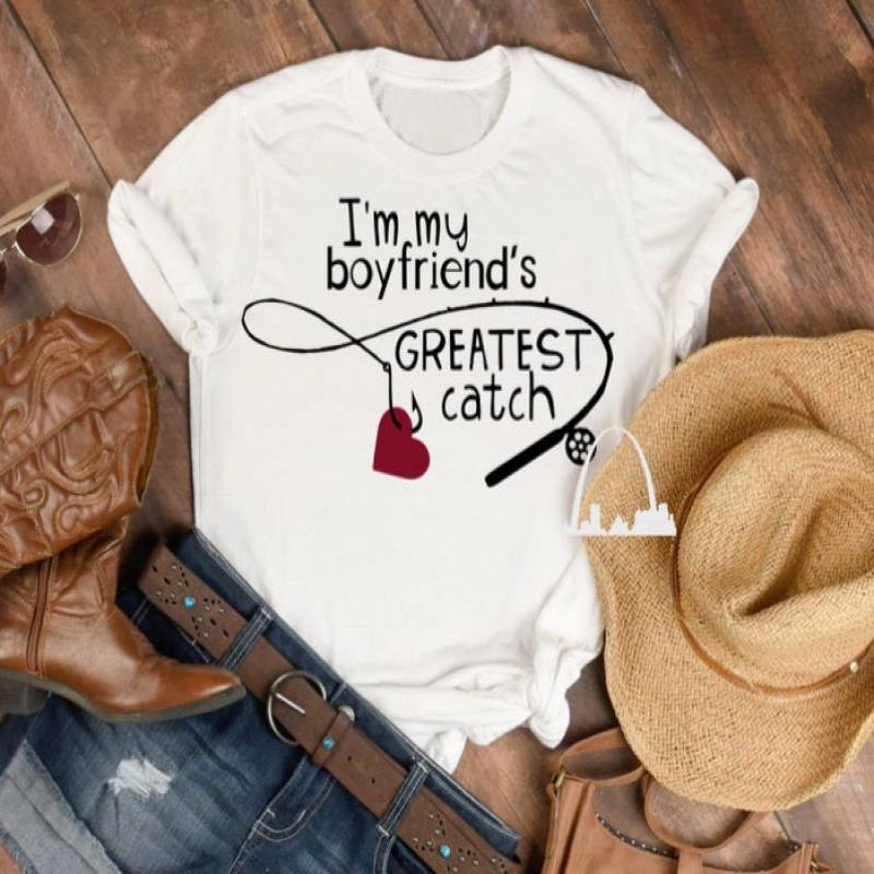 I'm my boyfriend's greatest catch fishing pole dxf png svg cut file fisherman's girlfriend t-shirts hats cups mugs decals Silhouette cricut