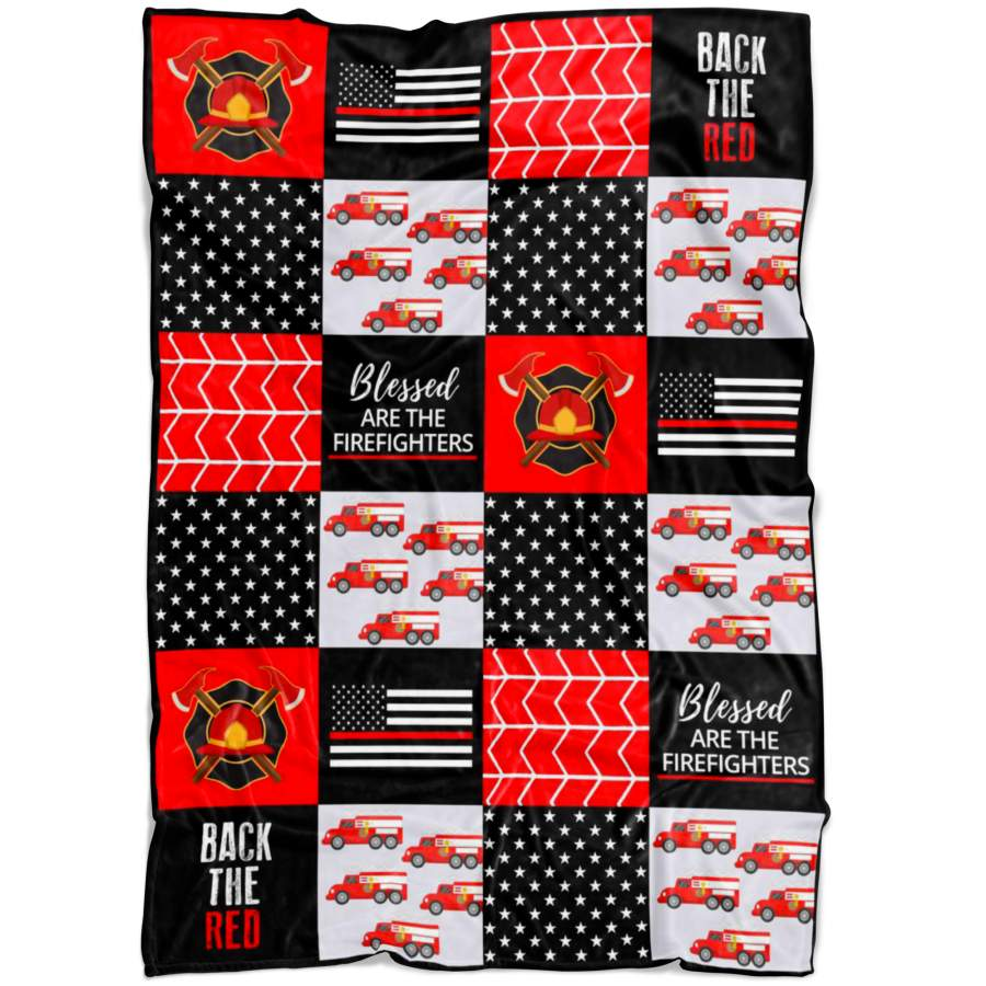 Firefighter Blanket - Thin Red Line Blanket - Firefighter Gift Dad mom sister brother girl boy husband wife Blanket