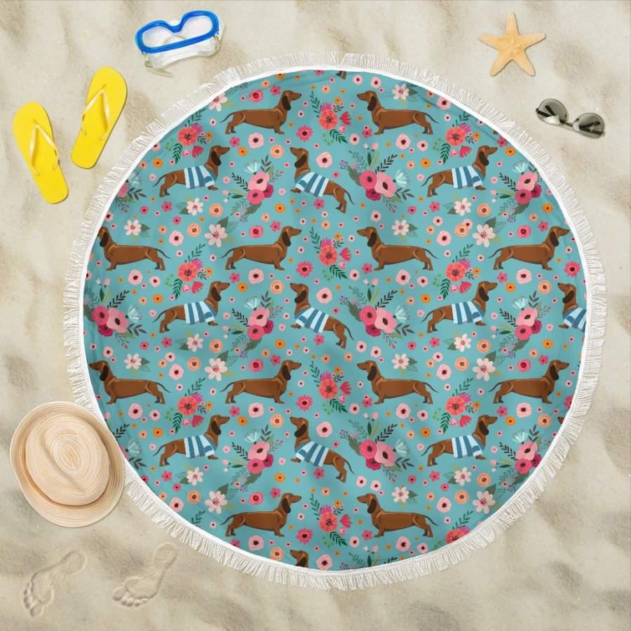 Dachshund Flower Beach Blanket
