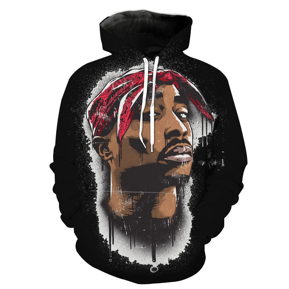 2Pac Tupac Hoodies -  Face Black Tupac Pullover Hoodie