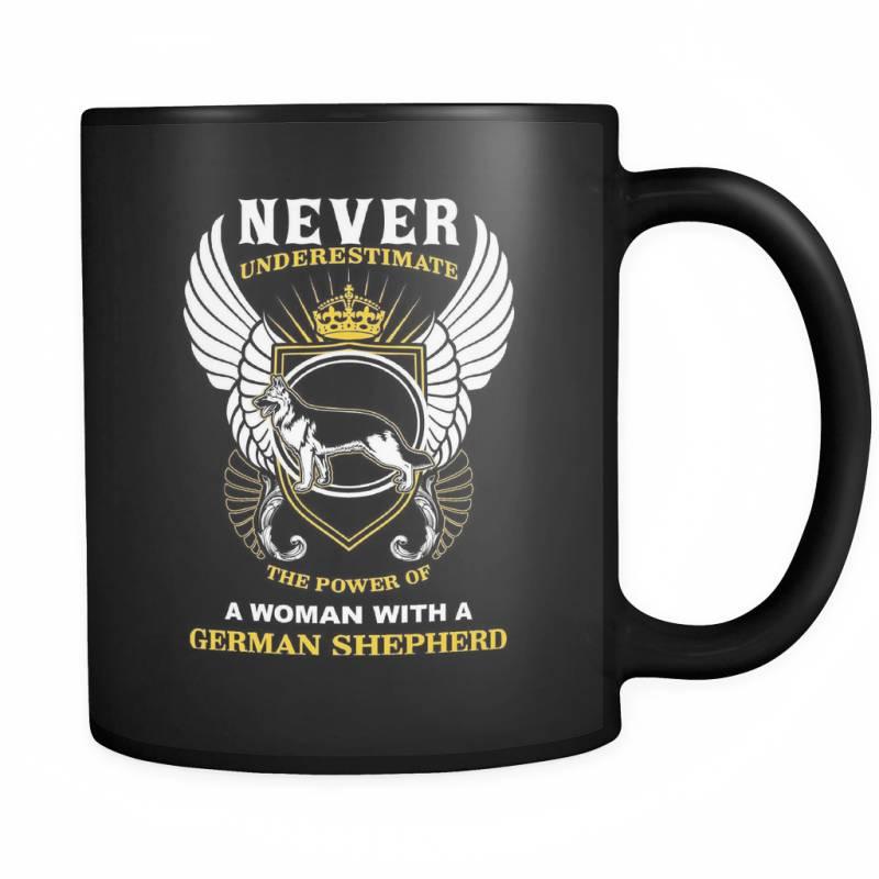 A Woman With A German Shepherd - Luxury Mug