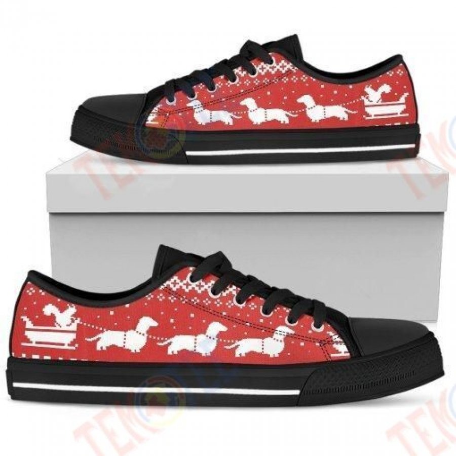 Mens Womens Dachshund Lovers Christmas Low Top Shoes Custom Print Footwear Convers Sneakers TMT283