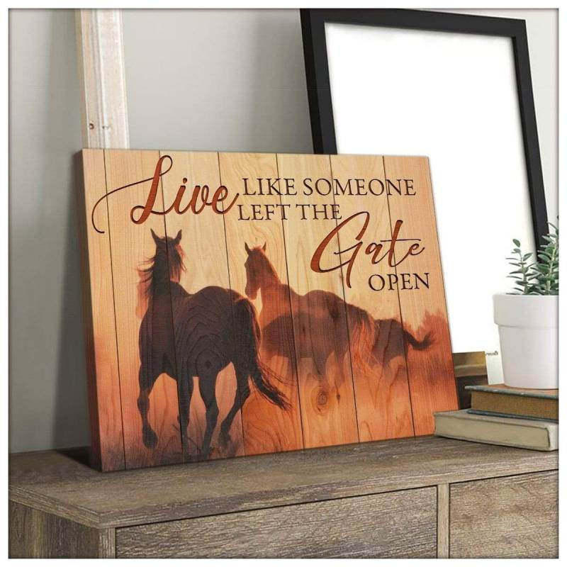 The Gate Open Horse  Poster Canvas 5232203017