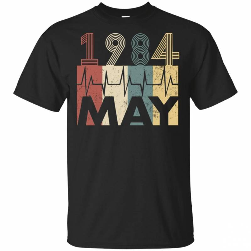 Vintage Heartbeat May 1984 Birthday Gift Men Women T Shirt Mn03