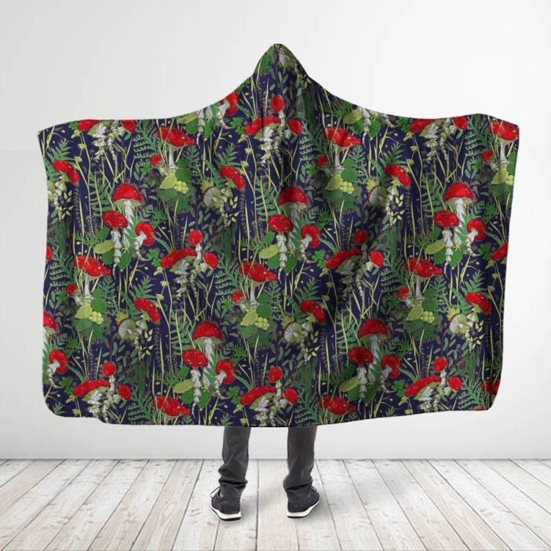 Forest Mushroom Red Hooded Blanket 3916