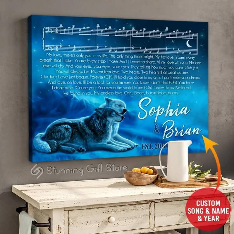 Custom name and music song lyrics Canvas Wolf poster poster  2832208046