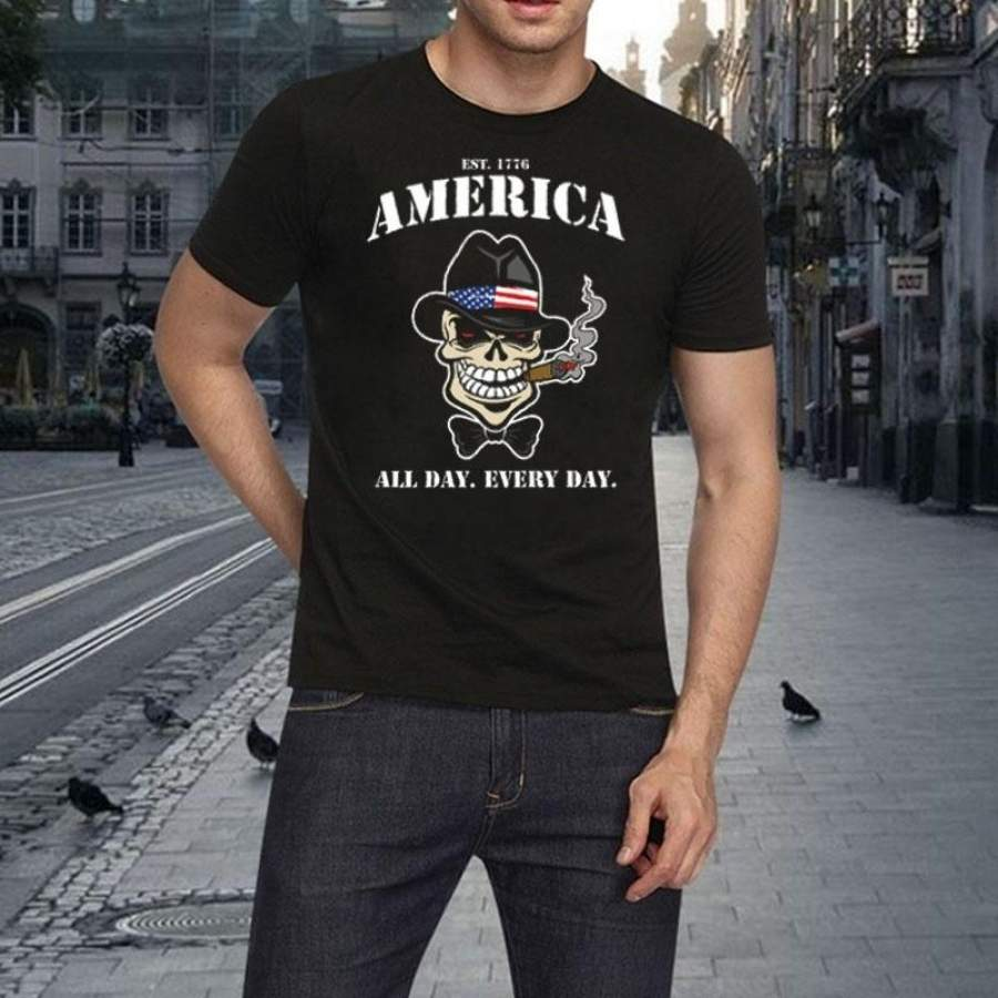 America All Day Every Day Patriot Skull T-Shirt