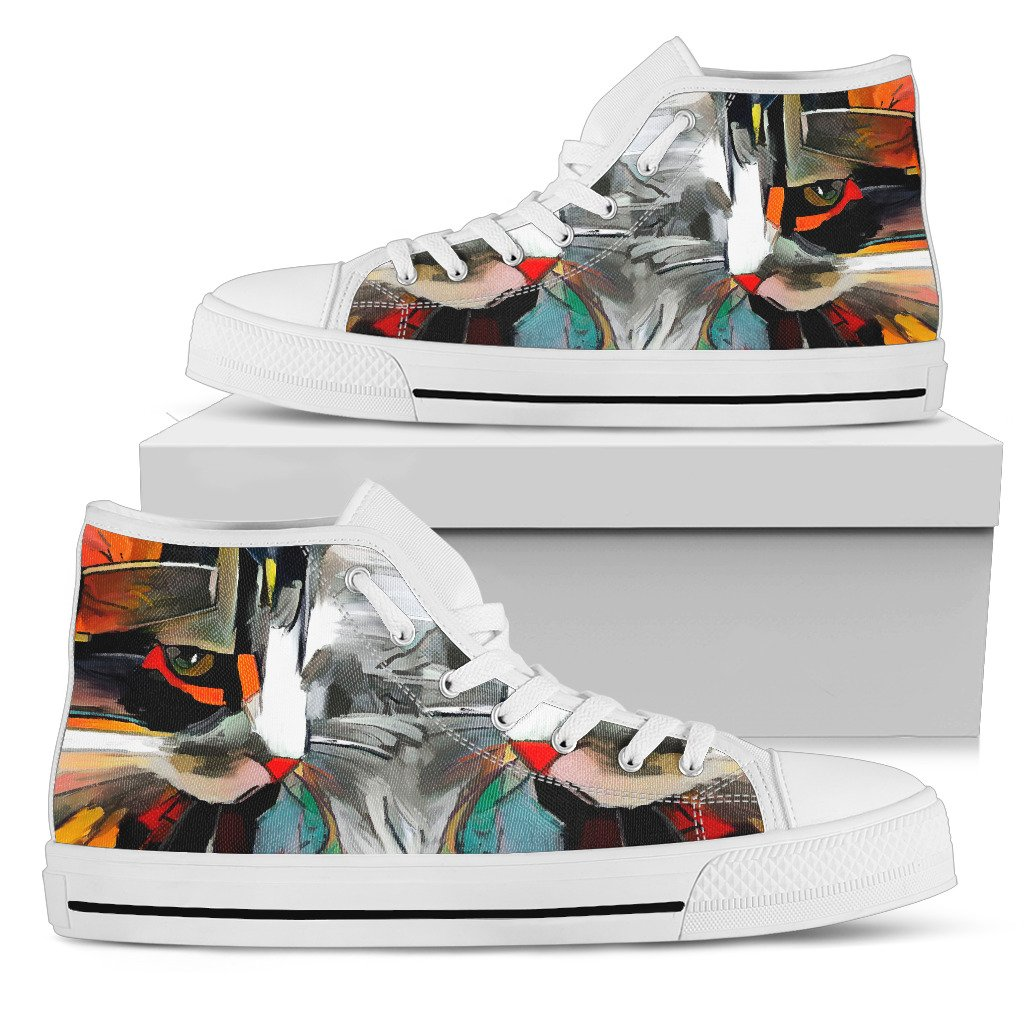 Abstract Cat I Women's High Top Shoes (White)