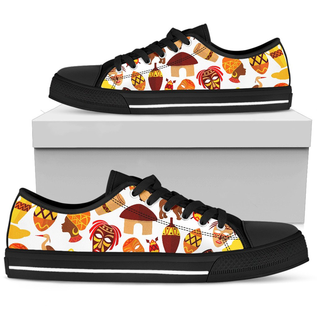 African Inspired Women's Low top Shoes (Black)