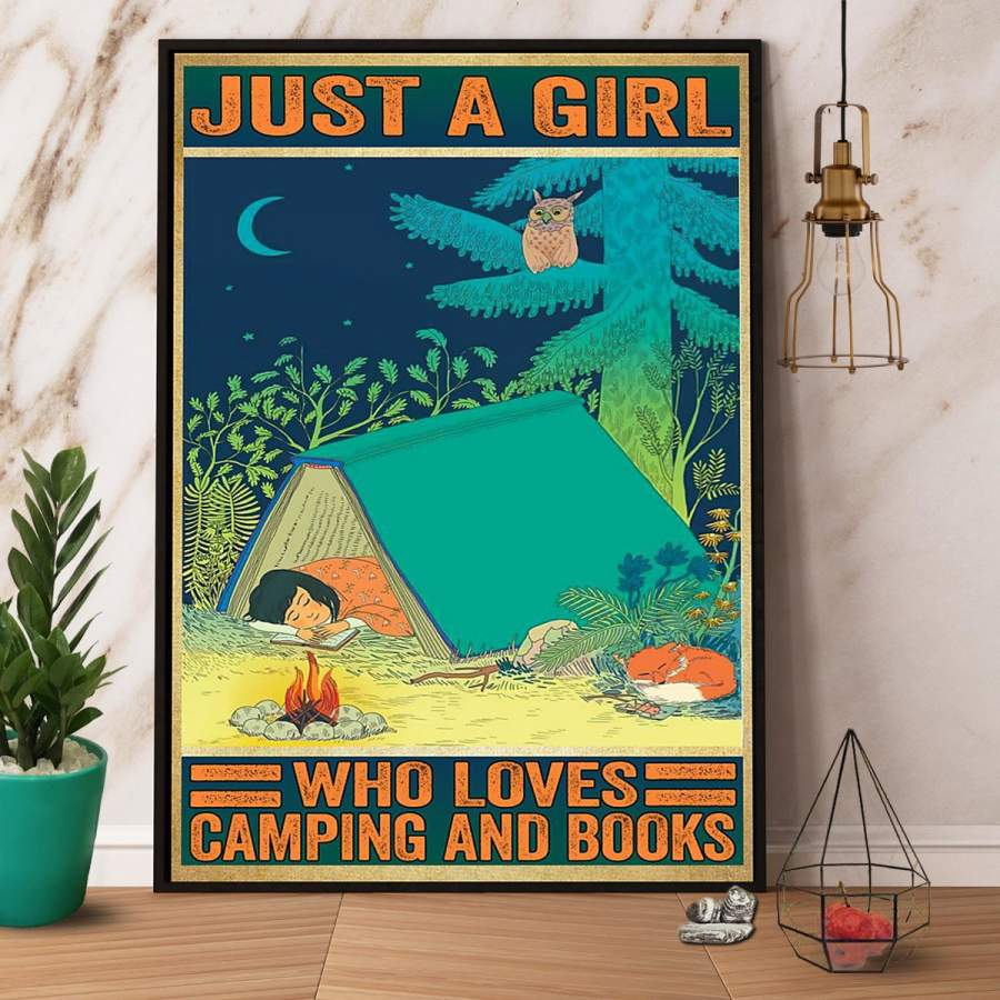 A girl who loves camping and books paper poster no frame/ wrapped canvas wall decor full size