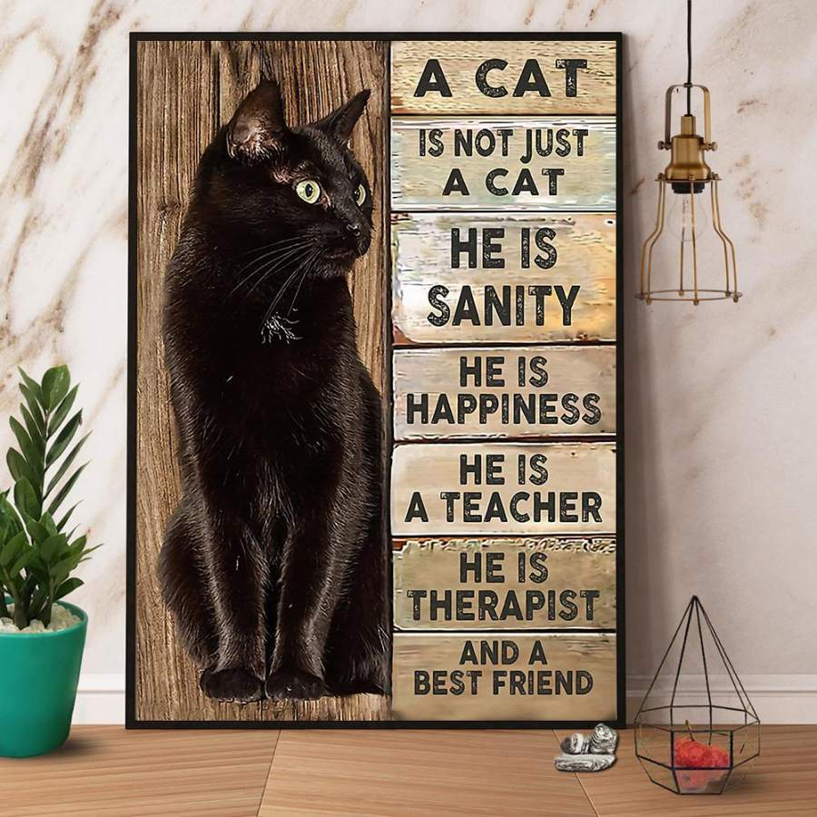 A cat is not just a cat he is a best friend paper poster no frame/ wrapped canvas wall decor full size