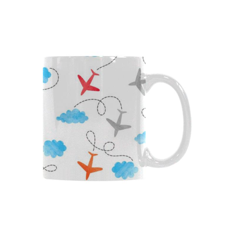 Airplane Cloud Pattern Classical White Mug (FulFilled In US)
