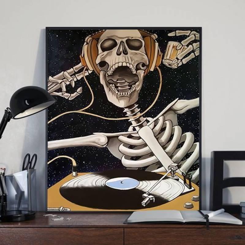 Dj Skeleton - Unframed Vertical Poster