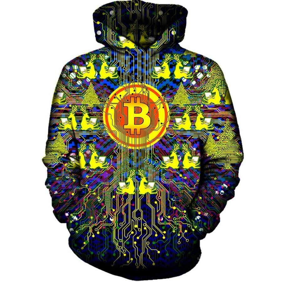 Merry Bitcoin Men/Women All-Over Print 3D Hoodie