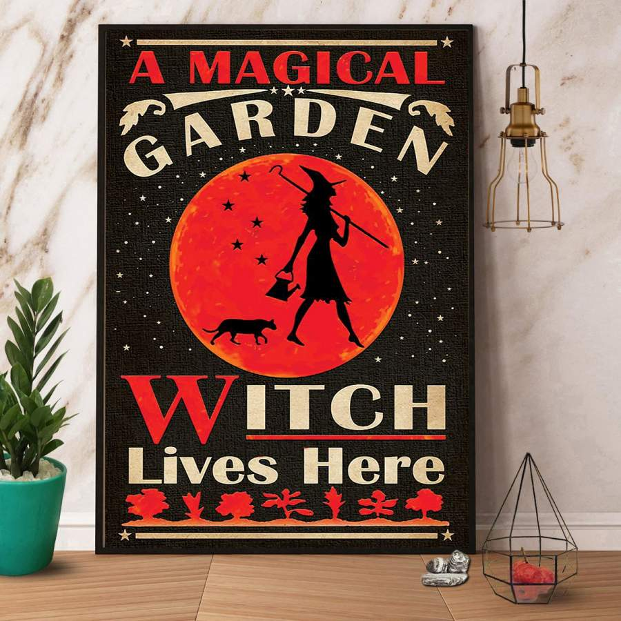 A magical garden witch lives here Halloween paper poster no frame/ wrapped canvas wall decor full size