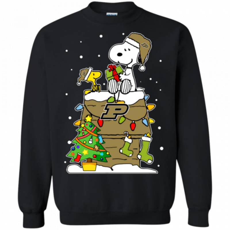 Purdue Boilermakers Ugly Christmas Sweaters Snoopy Woodstock   T Shirt Hoodies Sweatshirt