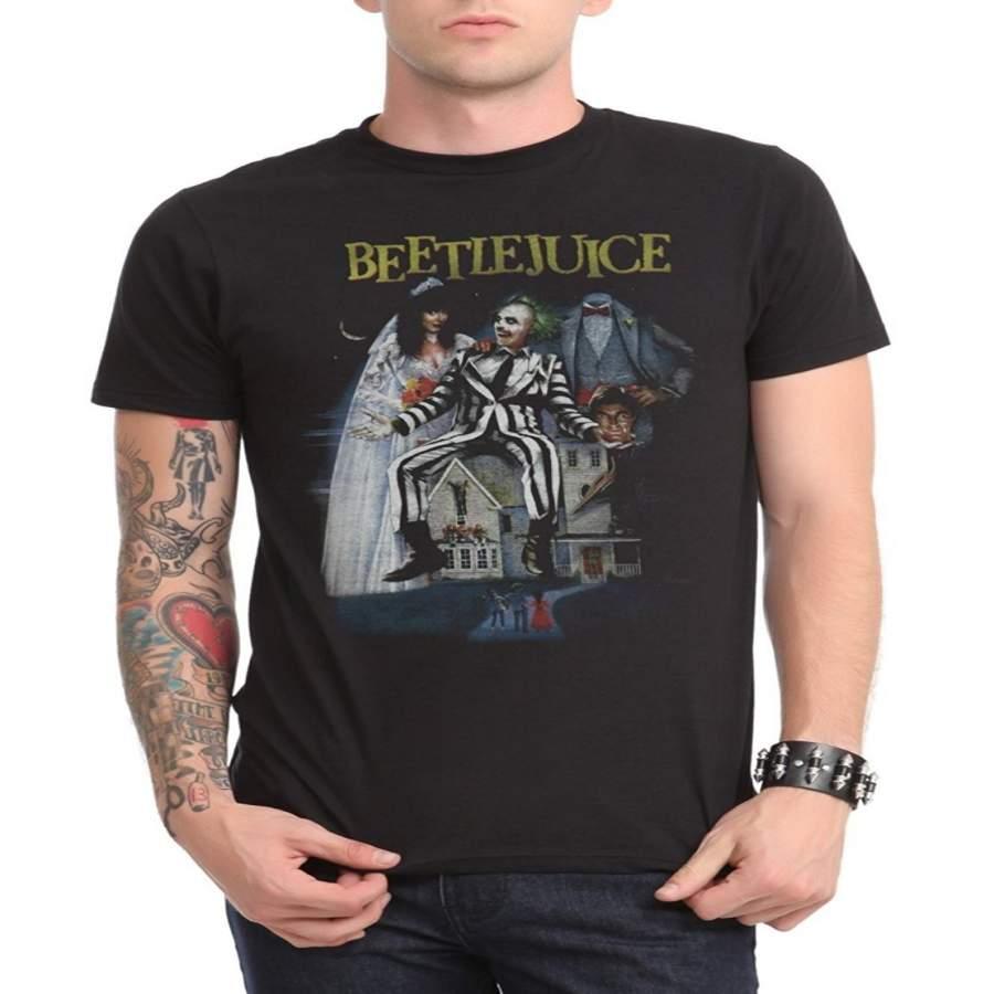 Beetlejuice Poster T-Shirt Short Sleeve T-shirt Men's Funny Black T-Shirt