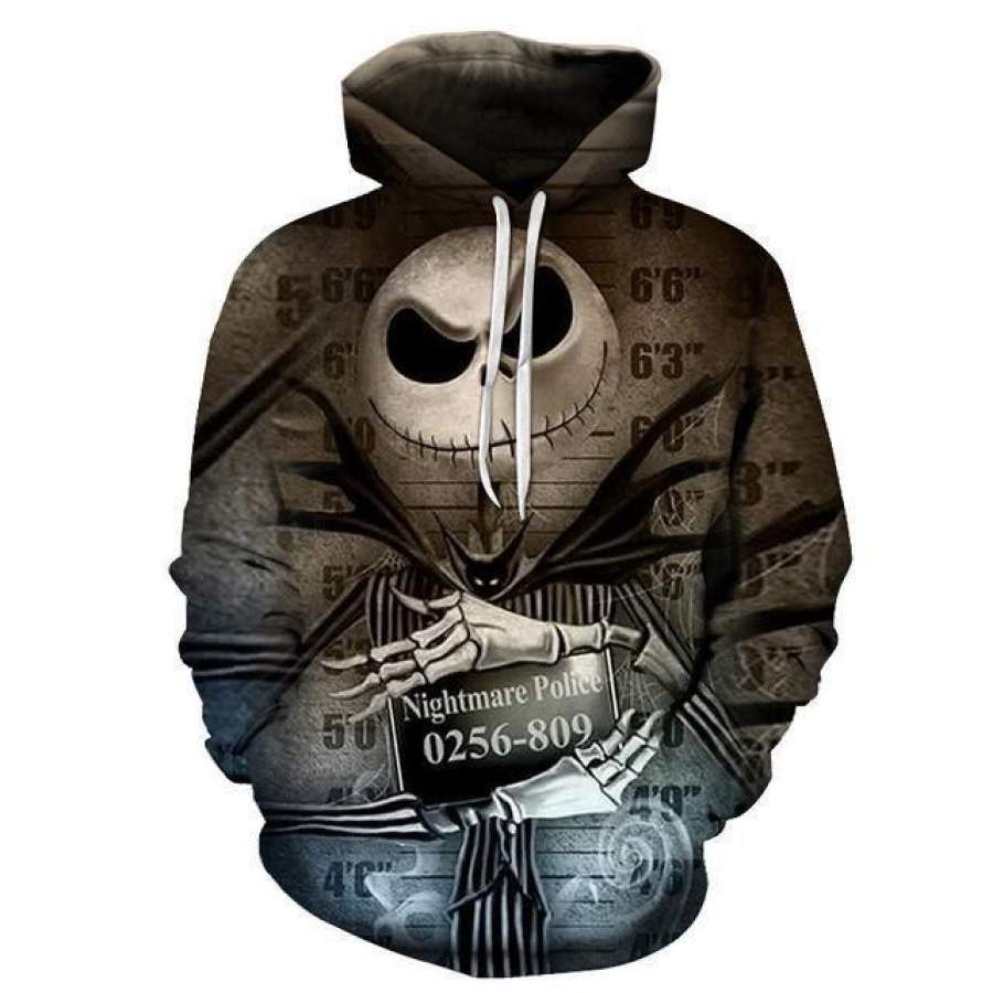 Jack Skellington Mug Shot Hoodie Unisex 3D All Over Print