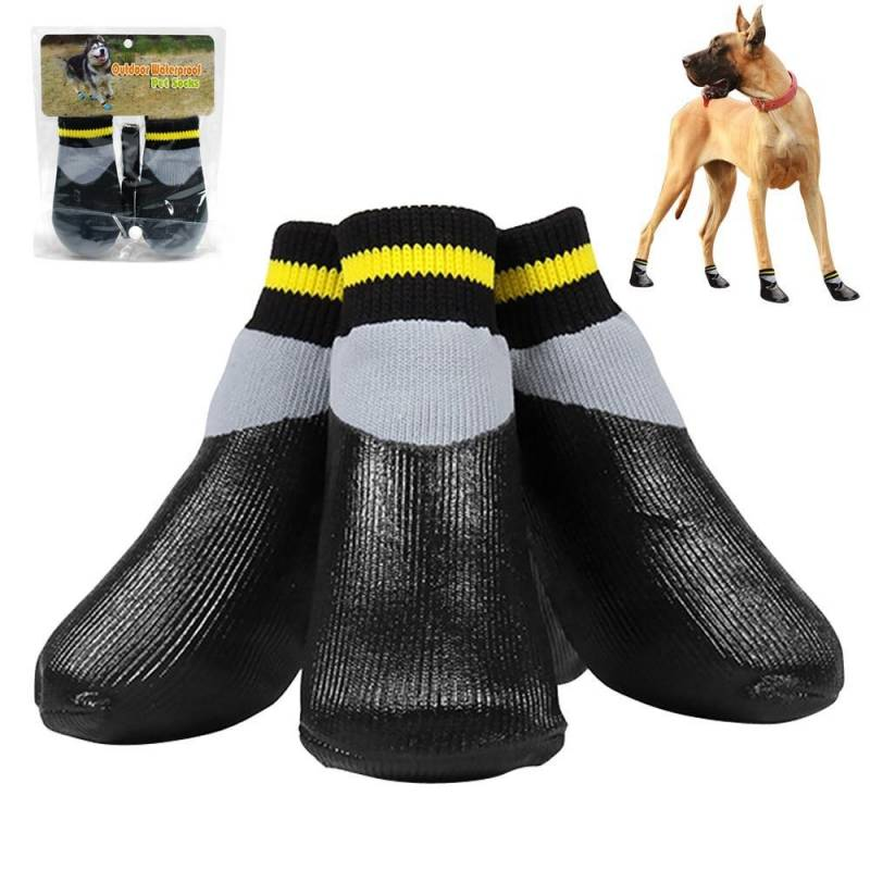 4pcs/set Outdoor Waterproof Nonslip Anti-stain Rubber Sole Pet Shoes