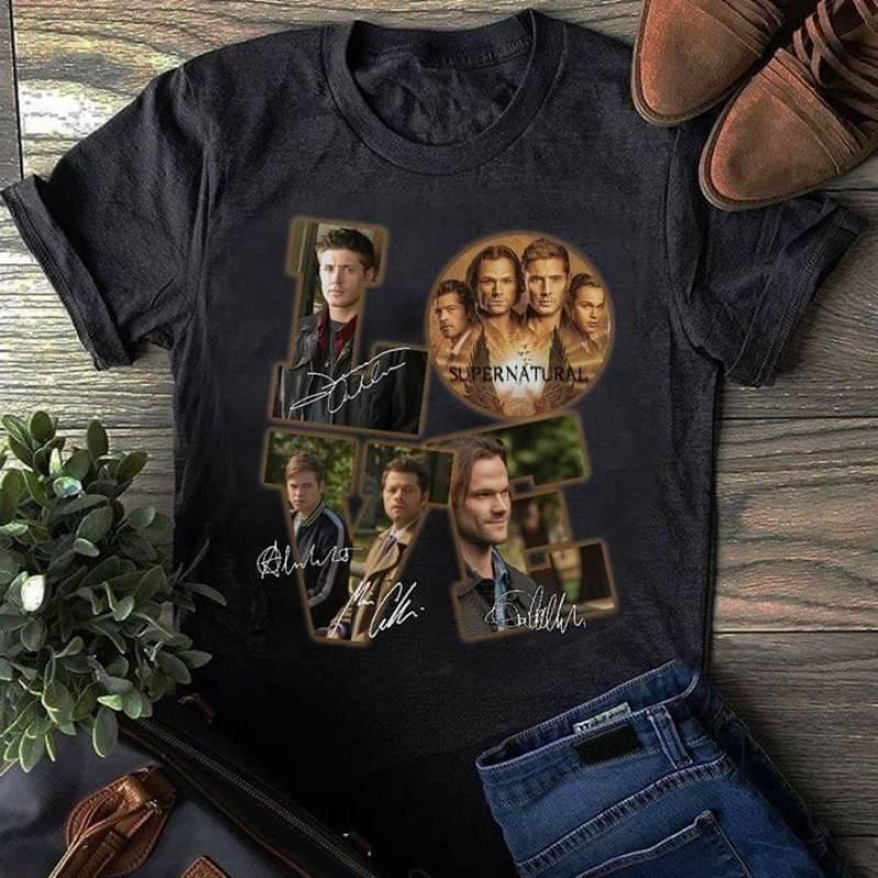 Love supernatural tv series actors signature for fan t shirt