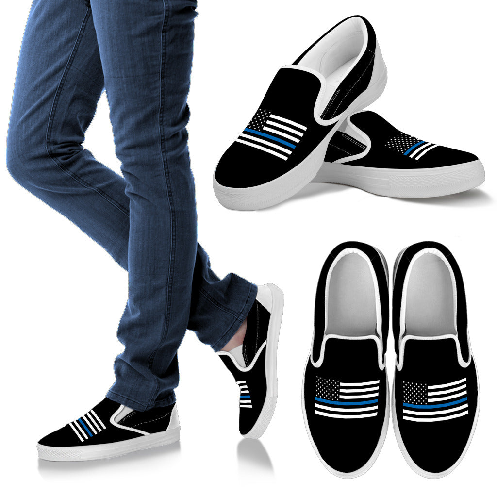 Thin Blue Line Flag Slip On Shoes