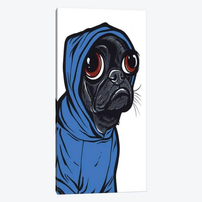 Black Pug Hoodie - Canvas Print