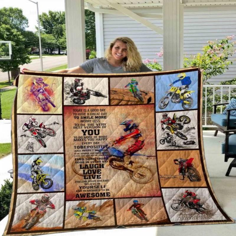 Motocross Poster Quilt Blanket 02