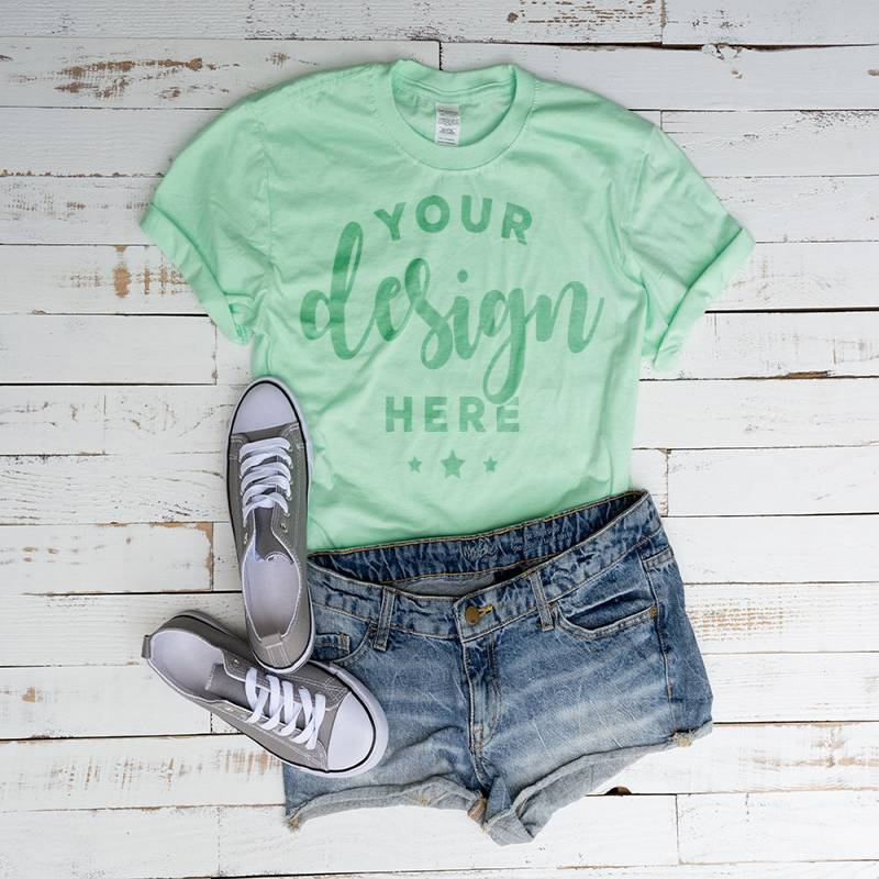 Mint   Tshirt Mockup 100 Percent Ring Spun Cotton Hi Resolution Jpg File 300 Dpi With Jean Shorts and Shoes