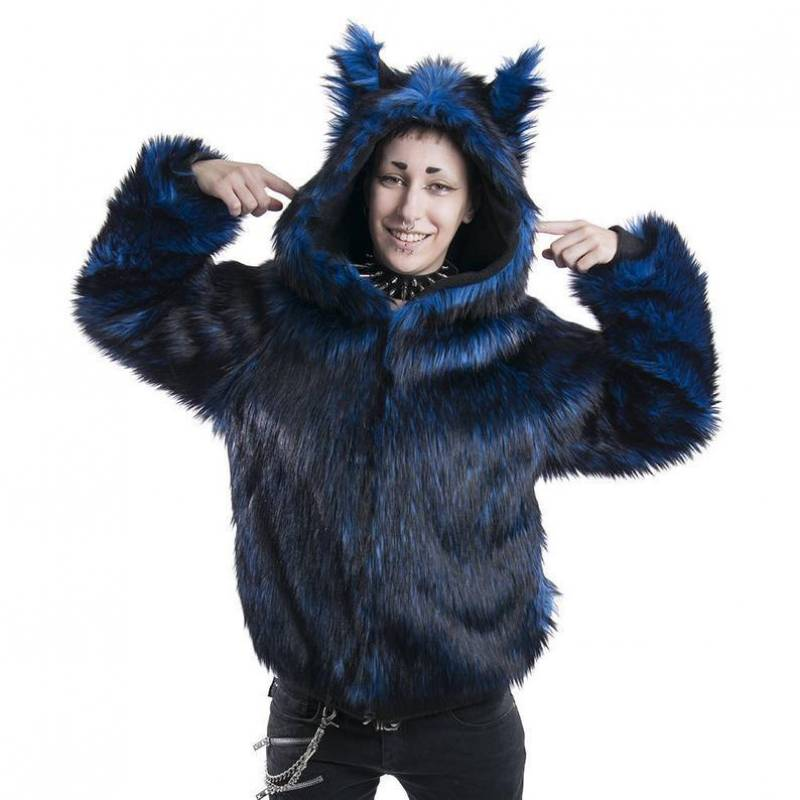 Pawstar Fancy Full Fur Wolf Hoodie - Fur coat Furry Sweater Jacket Animal Ears Partial Fursuit Fox Cat Kitty Red Blue Purple Lime 6174