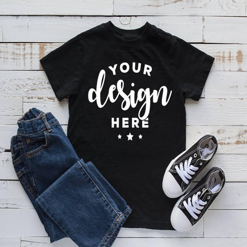 Kids Shirt Mockup Black T-shirt Mock Jeans and Shoes Listing Template Mock-up On Wood Background Digital Download Hi Res Jpg